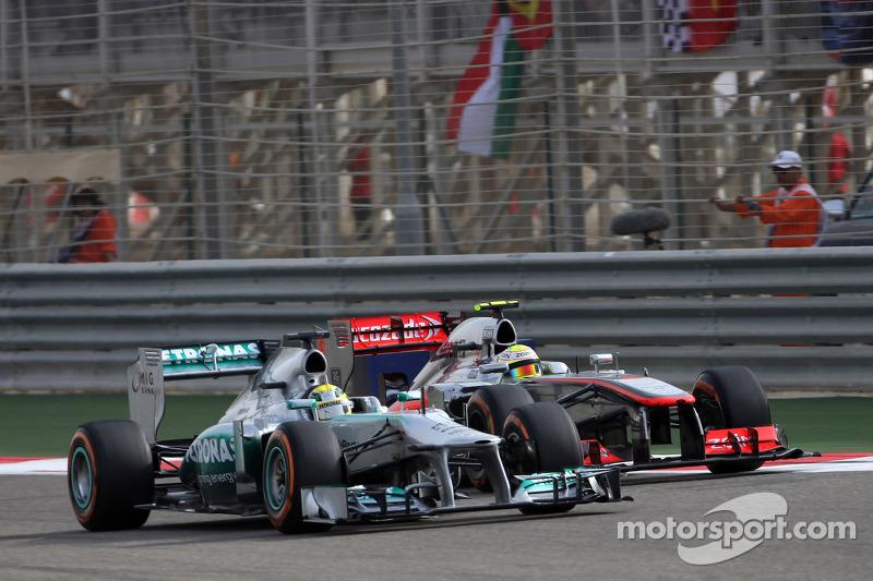 Nico Rosberg, Mercedes GP and Sergio Perez, McLaren Mercedes