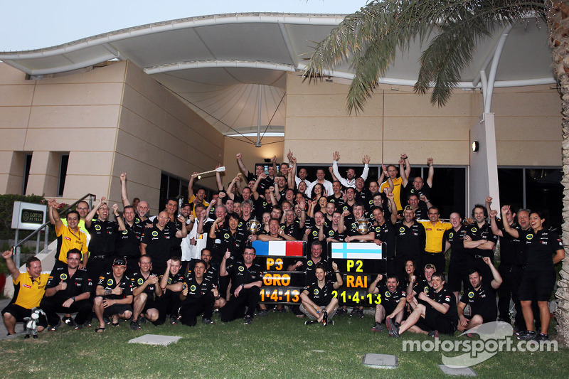 Kimi Raikkonen, Lotus F1 Team and Romain Grosjean, Lotus F1 Team celebrate second and third position