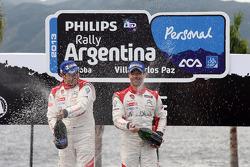 Podium: winners Sébastien Loeb and Daniel Elena, Citroën DS3 WRC, Citroën Total Abu Dhabi World Rally Team