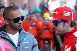 (L to R): Lewis Hamilton, Mercedes AMG F1 with Fernando Alonso, Ferrari on the drivers parade