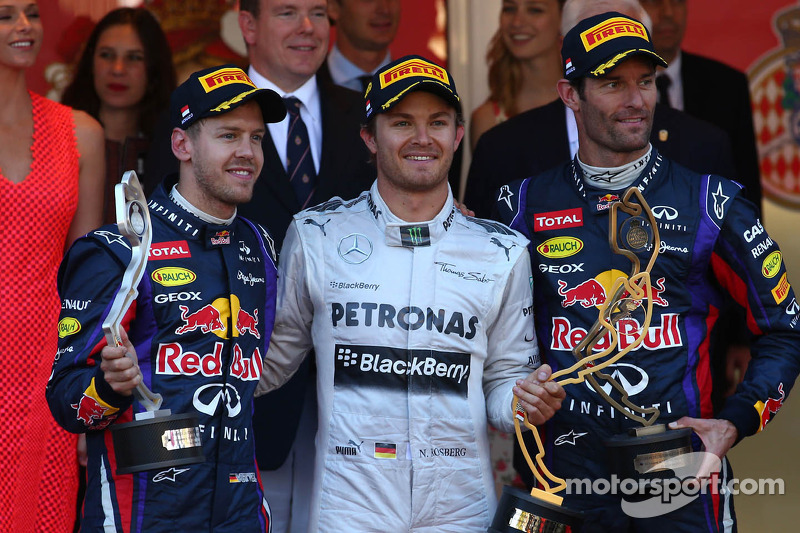 1e plaats Nico Rosberg, Mercedes AMG F1 W04, 2e plaats voor Sebastian Vettel, Red Bull Racing en 3e