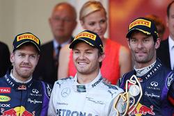 The podium: Sebastian Vettel Red Bull Racing, second; Nico Rosberg, Mercedes AMG F1, race winner; Mark Webber, Red Bull Racing, third