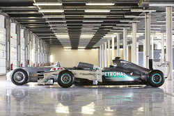 The Mercedes race cars of Stirling Moss and Lewis Hamilton