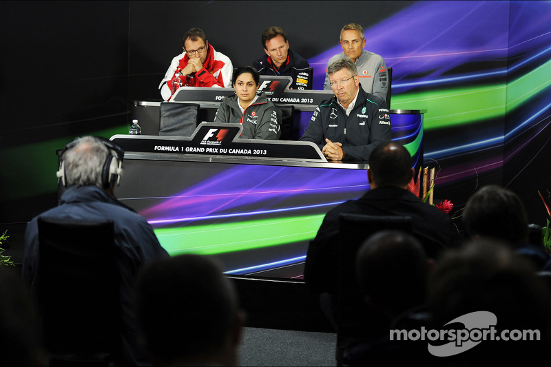 The FIA Press Conference, Ferrari General Director; Christian Horner, Red Bull Racing Team Principal; Martin Whitmarsh, McLaren Chief Executive Officer; Paul Hembery, Pirelli Motorsport Director, Sauber Team Principal; Ross Brawn, Mercedes AMG F1 Team Pri