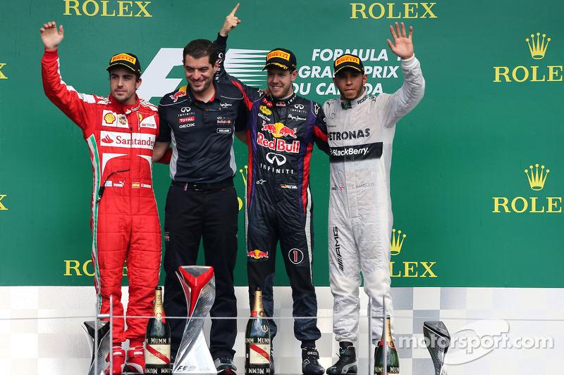 Fernando Alonso, Scuderia Ferrari, Sebastian Vettel, Red Bull Racing and Lewis Hamilton, Mercedes Gr