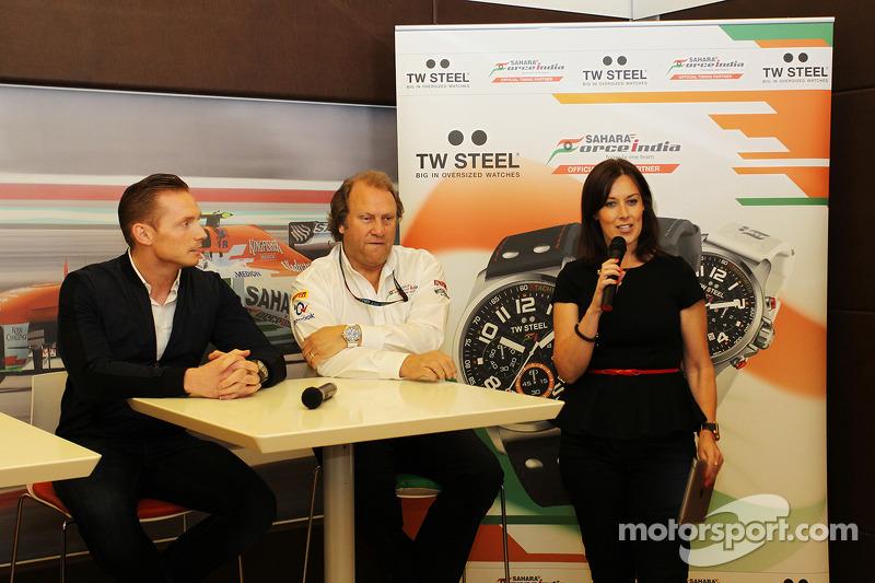 Jordy Cobelens, CEO TW Steel; Robert Fernley, Sahara Force India F1 Team Deputy Team Principal; Lee