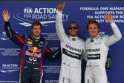 Pole for Lewis Hamilton, Mercedes AMG F1, 2nd Nico Rosberg, Mercedes AMG F1 W04 and 3rd Sebastian Vettel, Red Bull Racing RB9