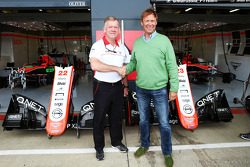 Andy Webb Marussia F1 Team CEO with Nigel Howe Reading FC Chief Executive, announce a partnership between the Marussia F1 Team and Reading Football Club