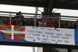A clear message for Pirelli in a banner in the grandstand