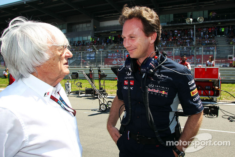 (L to R): Bernie Ecclestone, CEO Formula One Group, with Christian Horner, Red Bull Racing Team Prin