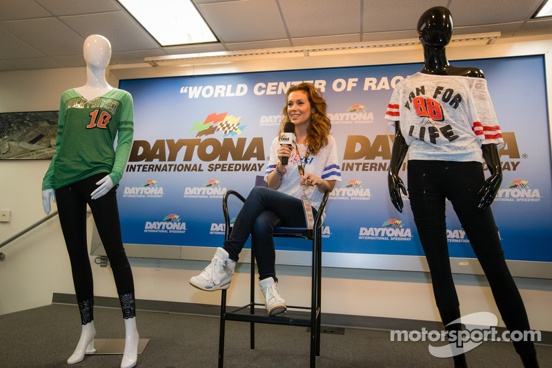 "Alyssa Milano presents her clothing collection ""Touch by Alyssa Milano"" for NASCAR female fans"