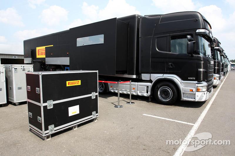 Pirelli trucks in the paddock