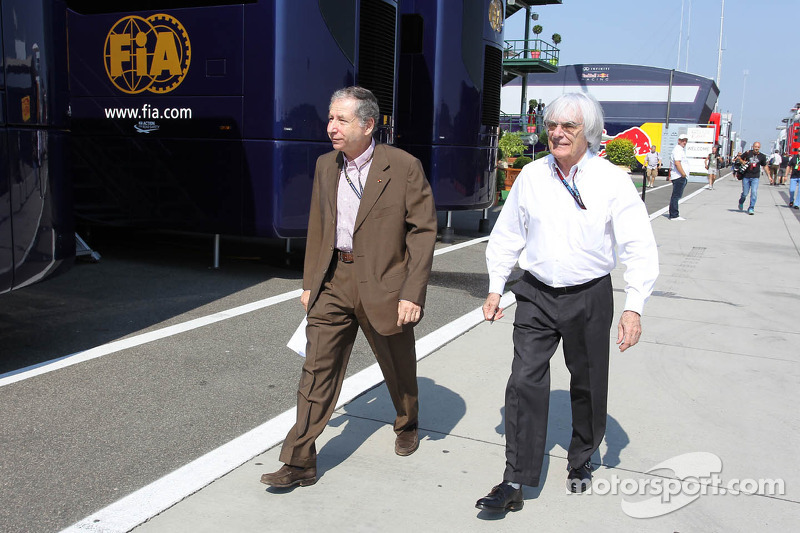 (L to R): Jean Todt, FIA President with Bernie Ecclestone, CEO Formula One Group