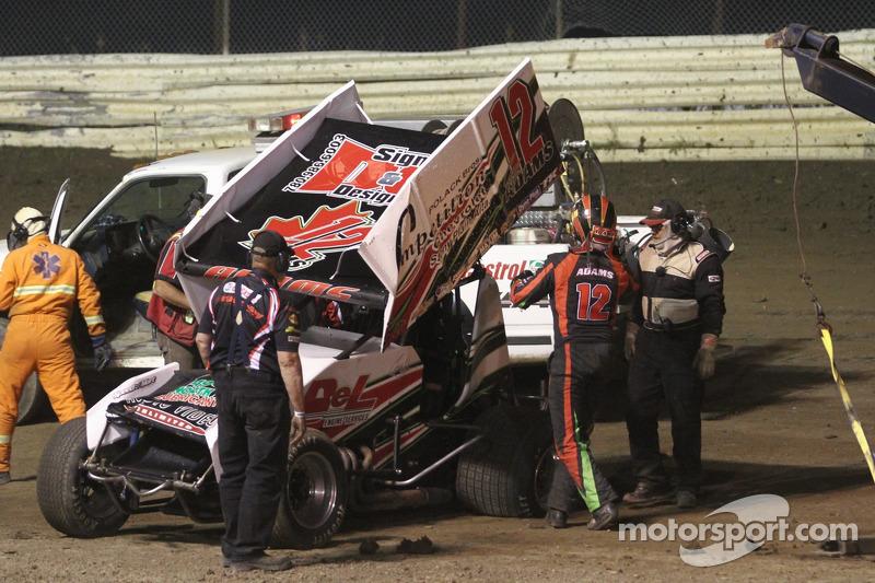 Crash voor Casey Adams