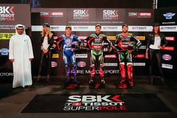Top 3 Superpole: Jonathan Rea, Kawasaki Racing, Michael van der Mark, Pata Yamaha, Tom Sykes, Kawasaki Racing