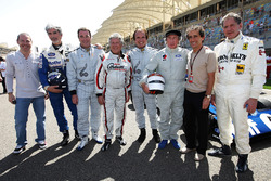 Jacques Villeneuve, Damon Hill, BRDC President; Nigel Mansell, Mario Andretti, Emerson Fittipaldi, Jackie Stewart, Alain Prost, and Jody Scheckter