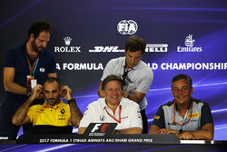 Cyril Abiteboul, Renault Sport F1 Managing Director, Zak Brown, McLaren Executive Director and Mario Isola, Pirelli Sporting Director in the Press Conference