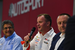 Michel Nandan, Tommi Makinen and Yves Matton talk to Henry Hope-Frost on the Autosport Stage