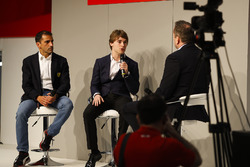 Ferrari test driver Marc Gene and Jody Fannin talks to Henry Hope-Frost on the Autosport Stage