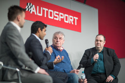 Edd Straw welcomes to the stage Karun Chandhok., Gary Anderson and Glenn Freeman for the Autosport Podcast