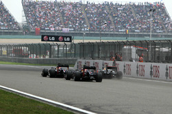 Mark Webber, Red Bull Racing RB8, Sebastian Vettel, Red Bull Racing RB8 and Lewis Hamilton, McLaren MP4-27 battle
