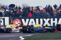 Alain Prost, Williams Renault FW15C alongside Phillipe Alliot, Larrouse Lamborghini LH93