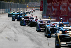 Sam Bird, DS Virgin Racing leadsAlex Lynn, DS Virgin Racing, Nicolas Prost, Renault e.Dams