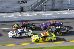 Ryan Blaney, Team Penske Ford Fusion, Brad Keselowski, Team Penske Ford Fusion and Martin Truex Jr., Furniture Row Racing Toyota