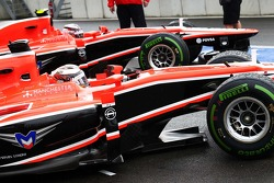 Jules Bianchi, Marussia F1 Team MR02 and team mate Max Chilton, Marussia F1 Team MR02 in the pits