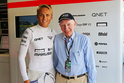 Max Chilton, Marussia F1 Team, with John Surtees