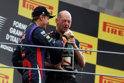 Race winner Sebastian Vettel, Red Bull Racing celebrates on the podium with Adrian Newey, Red Bull Racing Chief Technical Officer