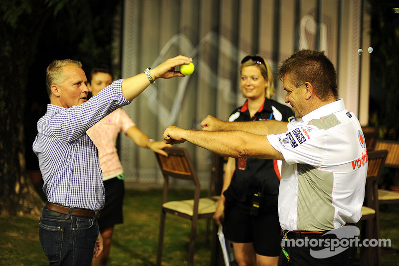 Johnny Herbert, with Dr. Aki Hintsa, McLaren Team Doctor