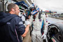 GT pole winner Joey Hand celebrates