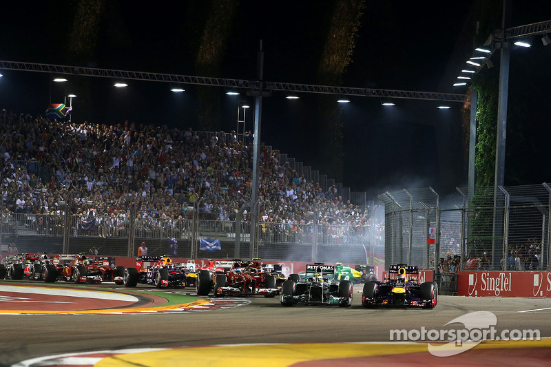 Start of the race, Sebastian Vettel, Red Bull Racing and Nico Rosberg, Mercedes GP