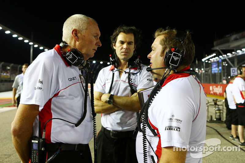 John Booth, Marussia F1 Team Team Principal with Marc Hynes, Marussia F1 Team Driver Coach and Dave