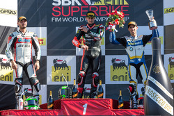 Sunday Superbike podium: 1st place Eugene Laverty, 2nd place Davide Giugliano, 3rd place Marco Melandri