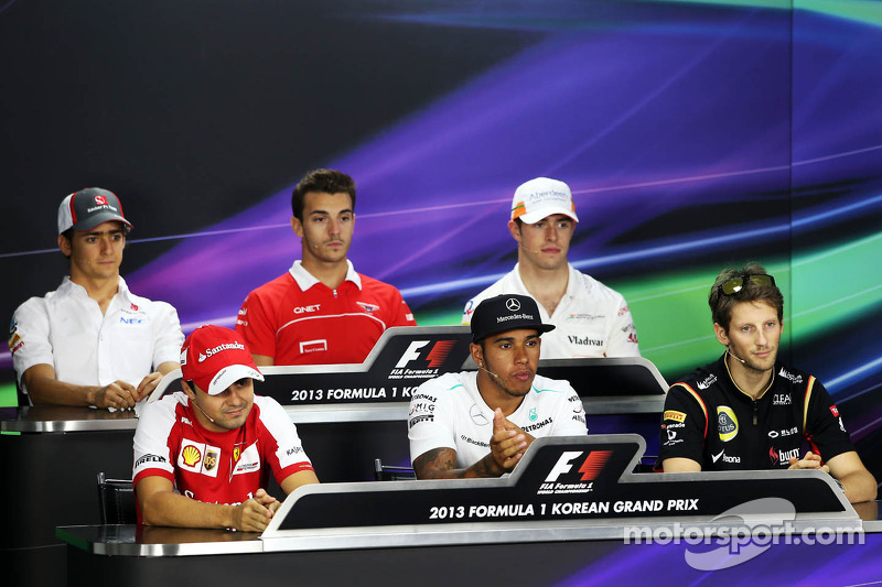 The FIA Press Conference: Esteban Gutierrez, Sauber; Jules Bianchi, Marussia F1 Team; Paul di Resta, Sahara Force India F1; Felipe Massa, Ferrari; Lewis Hamilton, Mercedes AMG F1; Romain Grosjean, Lotus F1 Team