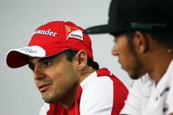 (L to R): Felipe Massa, Ferrari and Lewis Hamilton, Mercedes AMG F1 in the FIA Press Conference