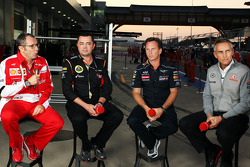 (L to R): Stefano Domenicali, Ferrari General Director with Eric Boullier, Lotus F1 Team Principal, Christian Horner, Red Bull Racing Team Principal and Martin Whitmarsh, McLaren Chief Executive Officer