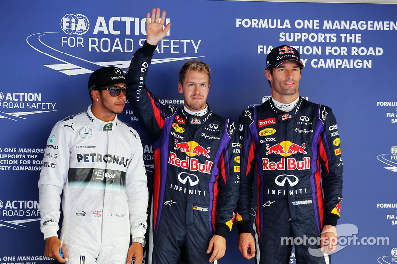 Polesitter Sebastian Vettel, Red Bull Racing, second place Lewis Hamilton, Mercedes AMG F1 W04, third place Mark Webber, Red Bull Racing RB9