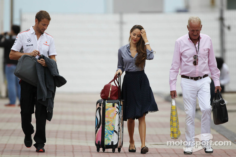(L to R): Jenson Button, McLaren with girlfriend Jessica ...