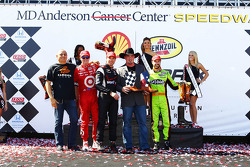 Race winner Will Power, second place Scott Dixon, third place James Hinchcliffe