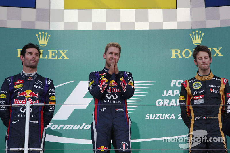 2013: 1. Sebastian Vettel, 2. Mark Webber, 3. Romain Grosjean