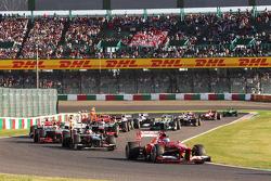 Fernando Alonso, Ferrari F138 al comienzo de la carrera