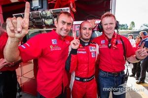 GT pole winner Matteo Malucelli with teammates Olivier Beretta and Robin Liddell