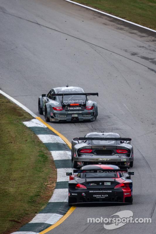 #17 Team Falken Tire Porsche 911 GT3 RSR: Bryan Sellers, Wolf Henzler, Nick Tandy, #91 SRT Motorsports SRT Viper GTS-R: Dominik Farnbacher, Marc Goossens, Ryan Dalziel, #55 BMW Team RLL BMW Z4 GTE: Maxime Martin, Jörg Müller, Uwe Alzen