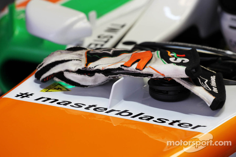 Adrian Sutil, Sahara Force India VJM06 carrying the hashtag # masterblaster as a tribute to the lege