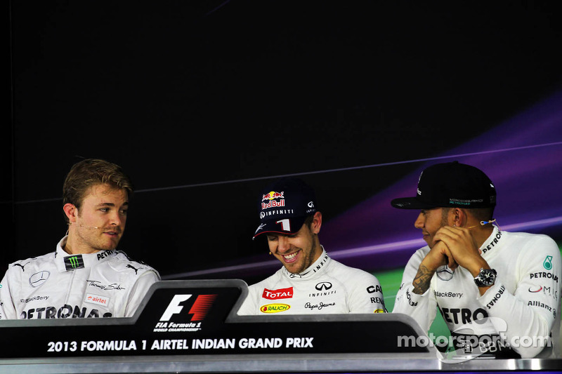 The FIA Press Conference: Nico Rosberg, Mercedes AMG F1; Sebastian Vettel, Red Bull Racing; Lewis Ha