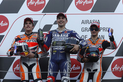 Race winner Jorge Lorenzo, second place Marc Marquez, third place Dani Pedrosa