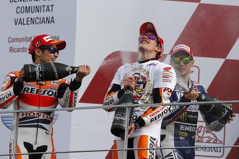 Kampioenspodium: Marc Marquez, Jorge Lorenzo, Dani Pedrosa